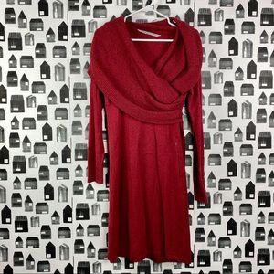 Athleta   Red Cowl Neck Long Sweater Dress